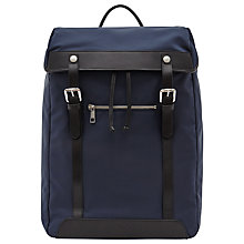 Buy Reiss Yverson Contrast Leather Trim Backpack, Navy Online at johnlewis.com