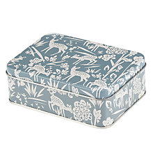 Buy John Lewis Deer Print Storage Tin, Duck Egg Online at johnlewis.com