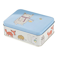 Buy John Lewis Woodland Print Storage Tin, Blue/Cream Online at johnlewis.com