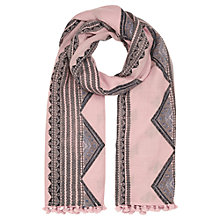 Buy Jigsaw Aztec Printed Wool Pom Scarf, Dusky Pink Online at johnlewis.com