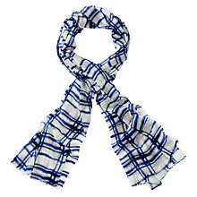 Buy Pure Collection Checked Gascoigne Scarf, Blue Online at johnlewis.com