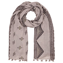 Buy Jigsaw Aztec Printed Wool Pom Scarf, Grey Online at johnlewis.com
