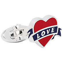 Buy Thomas Pink Heart and Swallow Cufflinks, Blue/Red Online at johnlewis.com