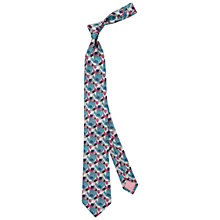Buy Thomas Pink Harrogate Floral Woven Silk Tie, Grey/Turquoise Online at johnlewis.com
