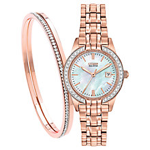 Buy Citizen EW1683-65D SET Women's Silhouette Crystal Date Bracelet Strap Watch, Rose Gold/Mother of Pearl Online at johnlewis.com