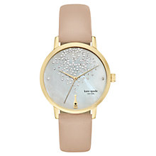 Buy kate spade new york KSW1015 Women's Metro Crystal Champagne Leather Strap Watch, Nude/White Online at johnlewis.com