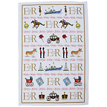 Buy Milly Green Celebrating Britain Queen's 90th Birthday Tea Towel Online at johnlewis.com