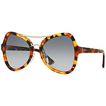 Buy Prada SPR18S Cat's Eye Sunglasses, Light Havana/Blue Online at johnlewis.com