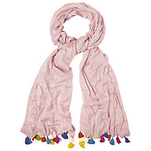 Buy White Stuff Jennifer Stripe Tassel Scarf, Pink Online at johnlewis.com