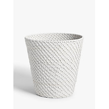 Buy John Lewis Croft Collection Rattan Wastepaper Bin, White Online at johnlewis.com