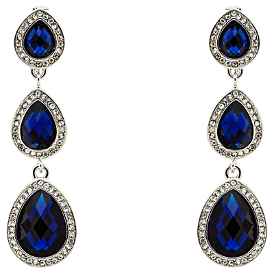 Monet 3 Crystal Clip-On Drop Earrings