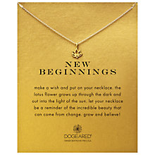Buy Dogeared New Beginnings Happy Lotus Reminder Pendant Necklace, Gold Online at johnlewis.com