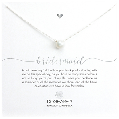 Dogeared Bridal Large Pearl Bridesmaid Reminder Necklace, Silver