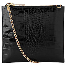 Buy Whistles Perry Shiny Croc Leather Chain Clutch Bag, Black Online at johnlewis.com