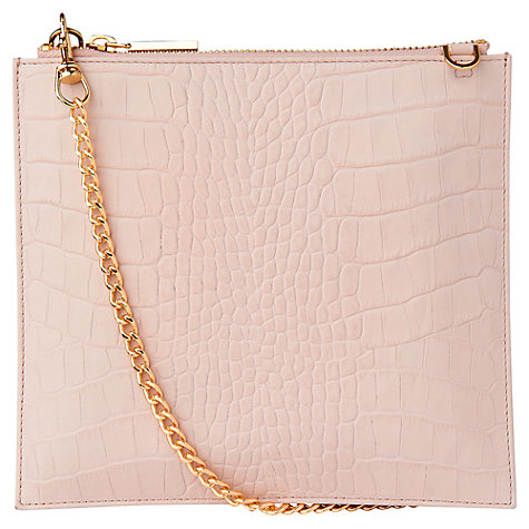 Buy Whistles Perry Matte Croc Leather Chain Clutch Bag, Pale Pink Online at johnlewis.com