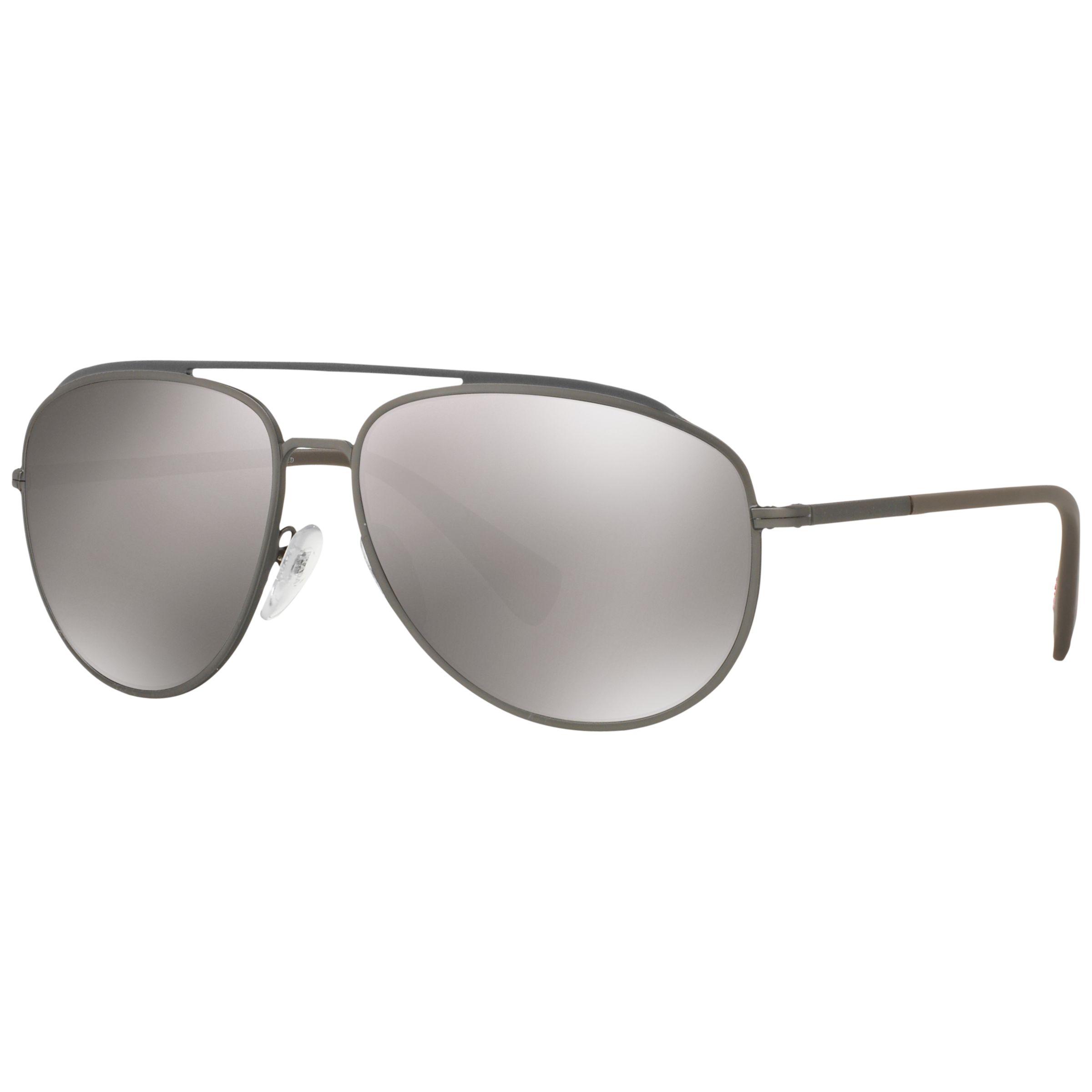 Prada Linea Rossa Prada Linea Rossa PS 55RS Polarised Aviator Sunglasses, Brown/Silver
