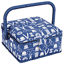 Buy John Lewis Sewing Stuff Print Small Square Sewing Basket, Blue Online at johnlewis.com