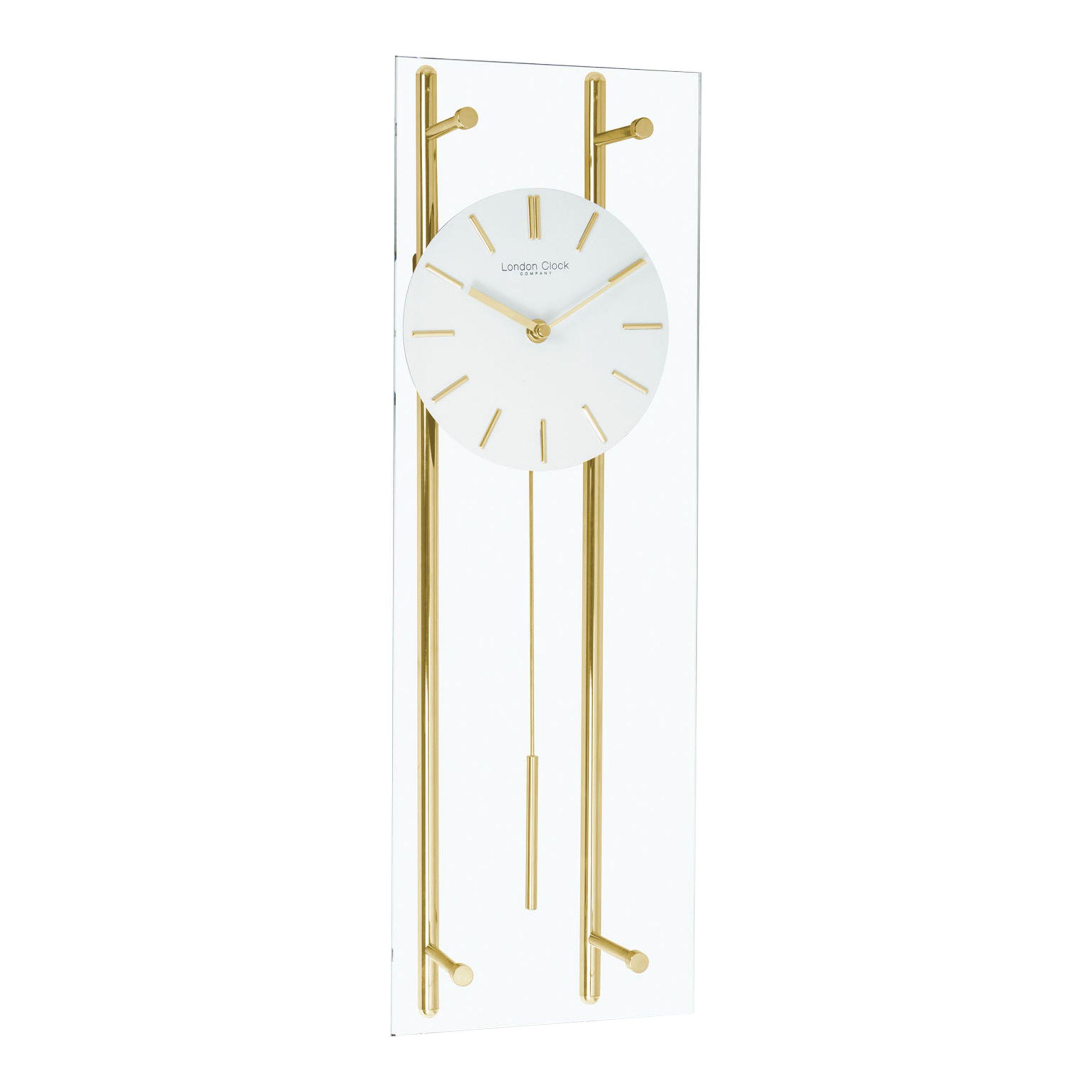 London Clock Company London Clock Company Glass Pendulum Clock, Gold