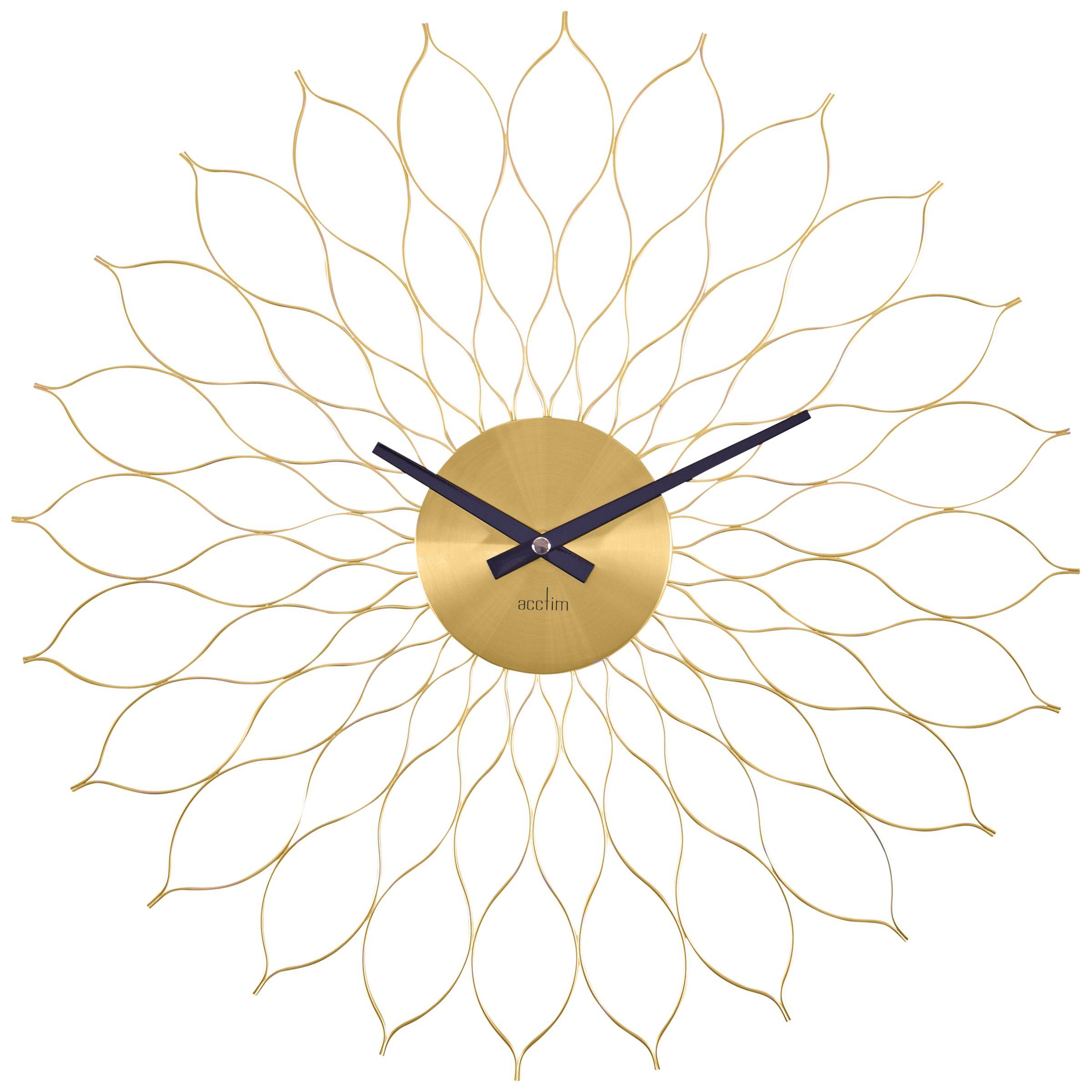 Acctim Acctim Metal Flower Wall Clock, Dia. 49cm, Brass