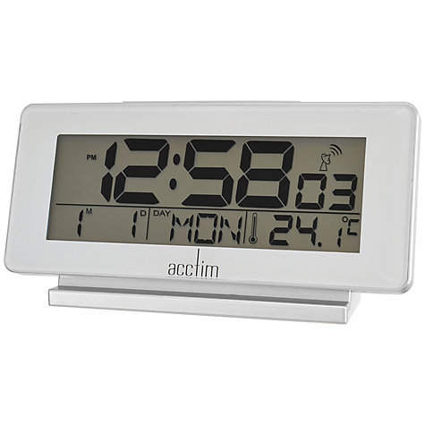 buy acctim novara radio controlled alarm clock white john lewis. Black Bedroom Furniture Sets. Home Design Ideas