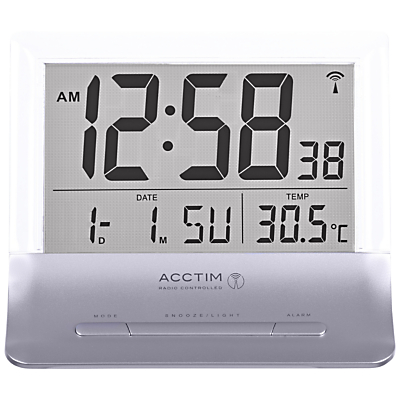 Acctim Radio Controlled LCD Alarm Clock Silver