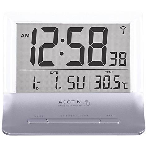 buy acctim radio controlled lcd alarm clock silver john lewis. Black Bedroom Furniture Sets. Home Design Ideas