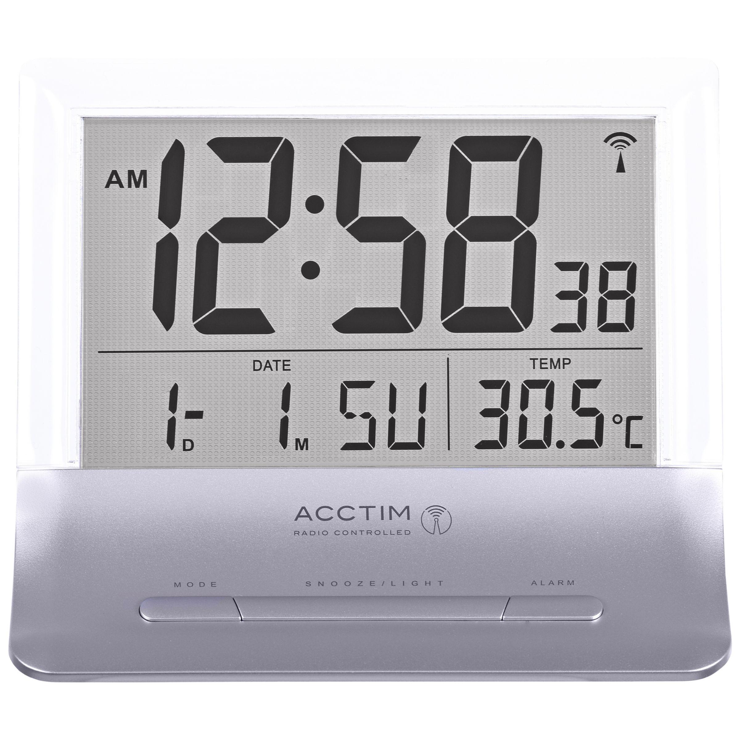 Acctim Acctim Radio Controlled LCD Alarm Clock, Silver