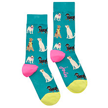 Buy Joules Brill Bamboo Dog Print Ankle Socks, Green/Multi Online at johnlewis.com
