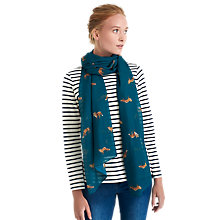 Buy Joules Wensley Parsley Fox Print Scarf, Teal/Orange Online at johnlewis.com