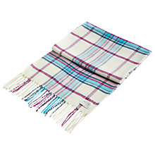 Buy Joules Bracken Check Scarf, Cream/Turquoise Online at johnlewis.com
