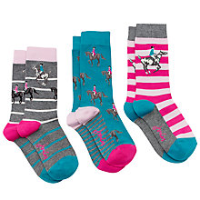 Buy Joules Brill Bamboo Horse Print Ankle Socks, Pack of 3, Multi Online at johnlewis.com