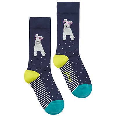 Joules Brill Bamboo Dog Print Ankle Socks, Navy/Multi