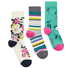 Buy Joules Brill Bamboo Floral Print Ankle Socks, Pack of 3, Multi Online at johnlewis.com
