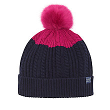 Buy Joules Bobble Hat, Navy/Pink Online at johnlewis.com