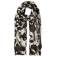 Buy John Lewis Monochrome Floral Scarf, Black/White Online at johnlewis.com