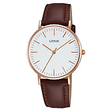 Buy Lorus RH886BX9 Women's Leather Strap Watch, Brown/White Online at johnlewis.com