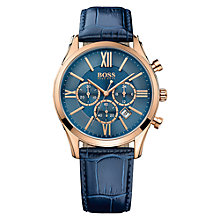 Buy HUGO BOSS 1513320 Men's Ambassador Chronograph Date Leather Strap Watch, Navy Online at johnlewis.com