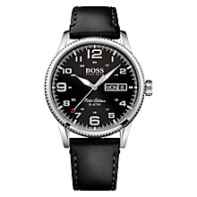 Buy HUGO BOSS Men's Pilot Vintage Day Date Leather Strap Watch Online at johnlewis.com