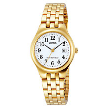 Buy Lorus RH786AX9 Women's Date Gold Plated Bracelet Strap Watch, Gold/White Online at johnlewis.com