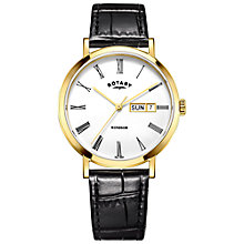 Buy Rotary GS05303/01 Men's Windsor Day Date Leather Strap Watch, Black/White Online at johnlewis.com