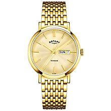 Buy Rotary GB05303/03 Men's Windsor Day Date Mesh Bracelet Strap Watch, Gold Online at johnlewis.com