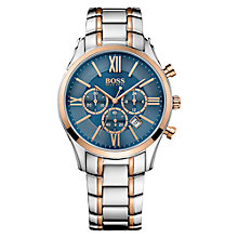 Buy BOSS 1513321 Men's Ambassador Chronograph Date Two Tone Bracelet Strap Watch, Silver/Rose Gold Online at johnlewis.com