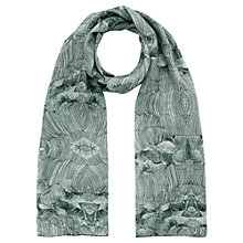 Buy Jigsaw Pleated Petal Silk Scarf, Green Online at johnlewis.com