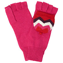 Buy John Lewis Geometric Chevron Fliptop Fingerless Mitten Gloves, Pink/Multi Online at johnlewis.com