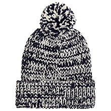 Buy John Lewis Multistitch Pom Pom Beanie Hat, Navy/Cream Online at johnlewis.com