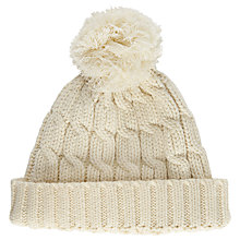 Buy John Lewis Rope Cable Knit Pom Pom Beanie Hat, Cream Online at johnlewis.com
