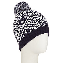 Buy John Lewis Fairisle Pom Pom Beanie Hat, Navy/Cream Online at johnlewis.com