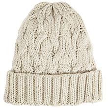 Buy John Lewis Stripe Cable Knit Beanie Hat, Light Grey Online at johnlewis.com