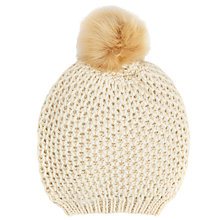 Buy John Lewis Chunky Lovely Pom Pom Beanie Hat, Cream Online at johnlewis.com
