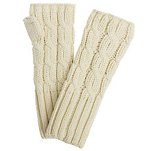 Buy John Lewis Rope Cable Knit Hand Warmers, Cream Online at johnlewis.com